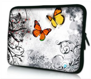 Laptophoes 11 inch oranje vlinders Sleevy