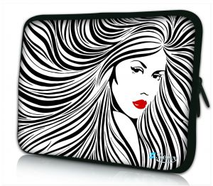 Laptophoes 13 inch artistieke vrouw in zwart wit Sleevy