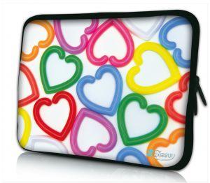 Laptophoes 13 inch kleurige harten Sleevy