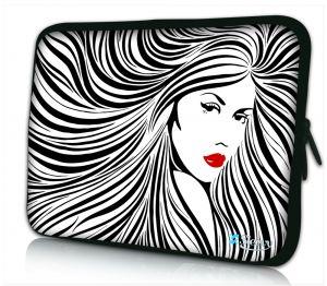 laptophoes 14 inch artistieke vrouw zwart wit Sleevy