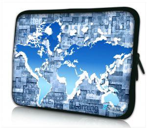 Laptophoes 14 inch blauwe wereldkaart Sleevy