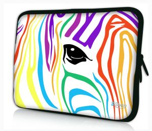 laptophoes 14 inch gekleurde zebra sleevy