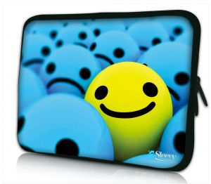 laptophoes 14 inch gele smiley Sleevy
