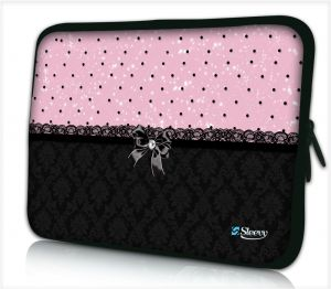 Laptophoes 14 inch patroon chic roze zwart - Sleevy