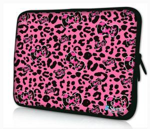 laptophoes 14 inch roze panterprint sleevy