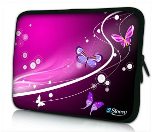 laptophoes 14 inch paarse vlinders Sleevy
