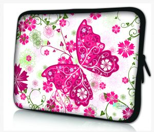 laptophoes 14 inch roze vlinder sleevy