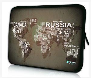 laptophoes 14 inch wereldkaart & namen sleevy