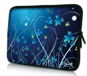 laptophoes 15 inch blauwe bloemen Sleevy