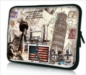 Sleevy 17 inch laptophoes wereld monumenten