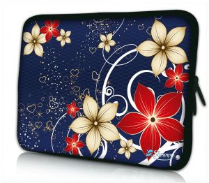 Sleevy 17 inch laptophoes rode beige bloemen