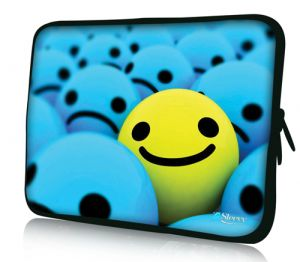 laptophoes 17,3 gele smiley sleevy