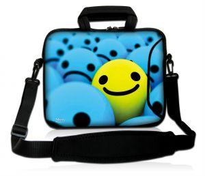 Sleevy 15,6 inch laptoptas gele smiley