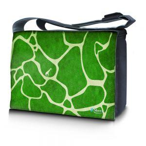 Sleevy 15,6 inch laptoptas groene giraffe print