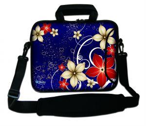 Sleevy 15.6 inch laptoptas rode/beige bloemen