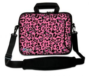 Sleevy 17.3 inch laptoptas roze panterprint