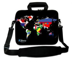 laptoptas 17 inch wereldkaart en vlaggen Sleevy