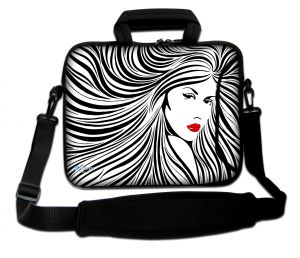 Sleevy 17,3 inch laptoptas artistieke vrouw in zwart/wit