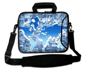 laptoptas 17 inch blauwe wereldkaart Sleevy